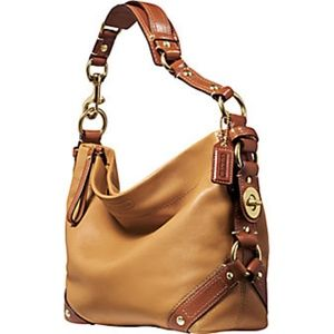 Coach Carly Leather Shoulder Hobo Bag in Camel